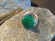 Green Onyx Natural Gemstone Hand Twisted Sterling Silver Ring Size 7