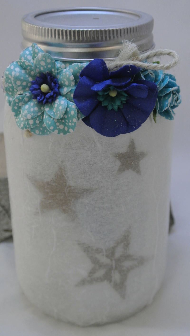 Decorative Mason Jar Light - Blue Flowers