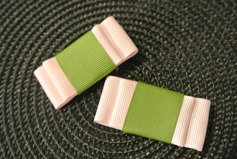 Soft Pink & Green Hair Clip Bows - Set of 2