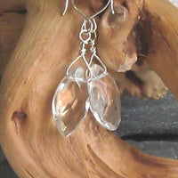 Crystal Quartz Gemstone Argentium Sterling Silver Earrings