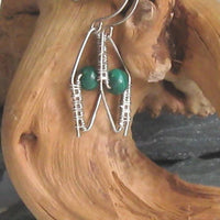 Malachite Gemstone Argentium Sterling Silver Earrings