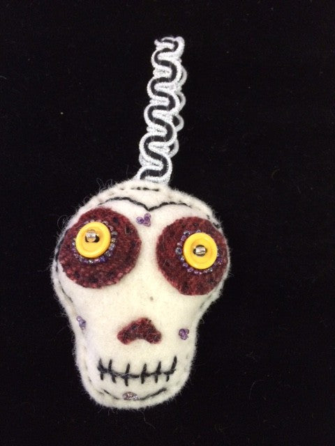Sugar Skull Ornament - White