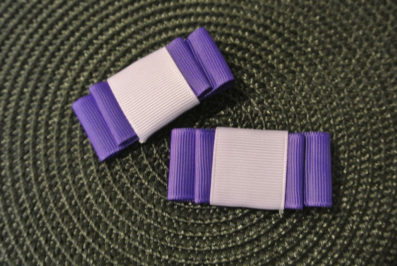 Purple & Lavender Hair Clip Bows - Set of 2