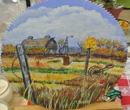 Hand Painted Farm Themed Saw Blade