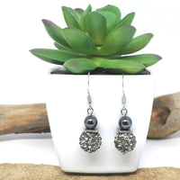 Pave Sparkle & Hematite Earrings