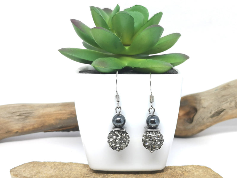 Pave Earrings Hematite Bead