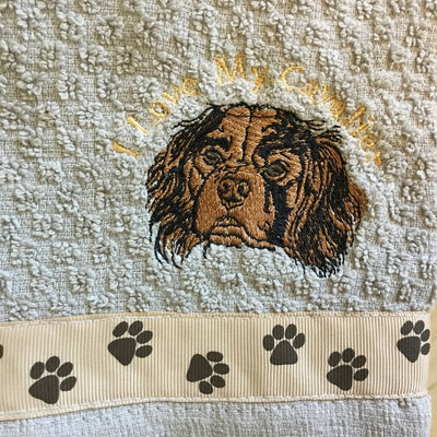 Embroidered Grey Terry Dog Themed Hand Towels