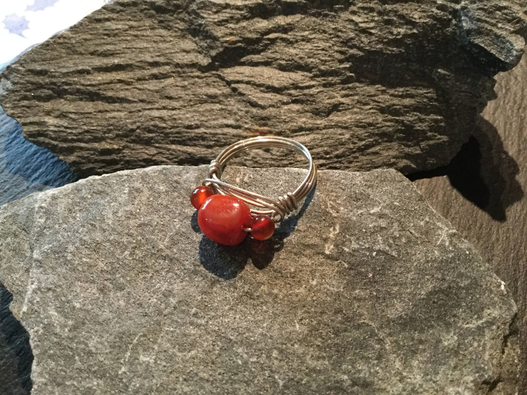 Red Agate Natural Gemstone Hand Twisted Sterling Silver Ring Size 7