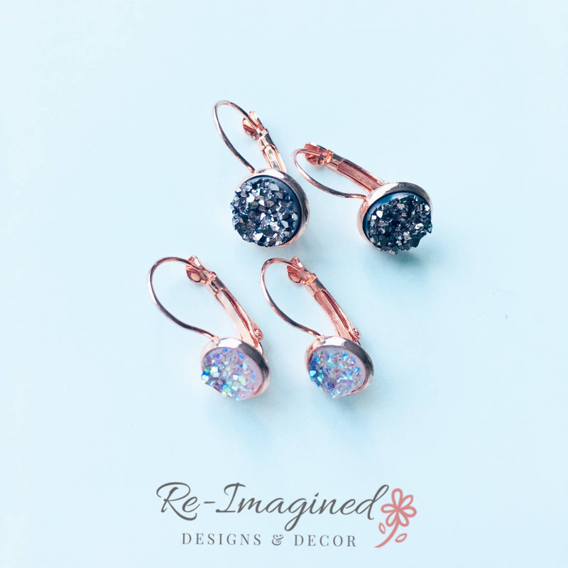 10mm Druzy Geode / Resin Lever Back Earrings - Rose Gold