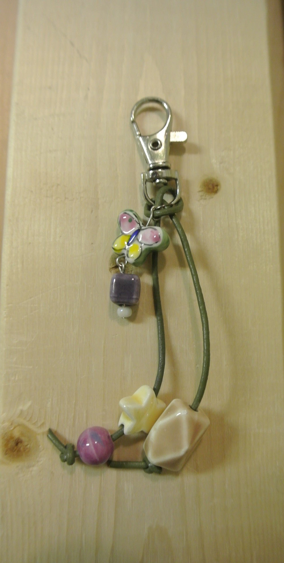 Pink and Yellow Butterfly Purse Charm
