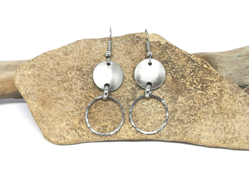 Disc and Hoop Earrings - Silver Tone