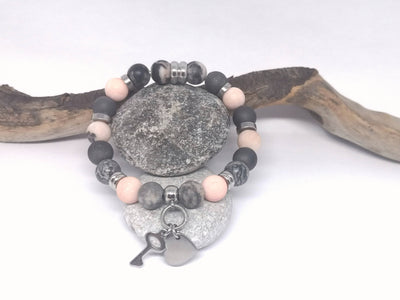 Wave Jasper Gemstone Bracelet with Key & Heart Charms