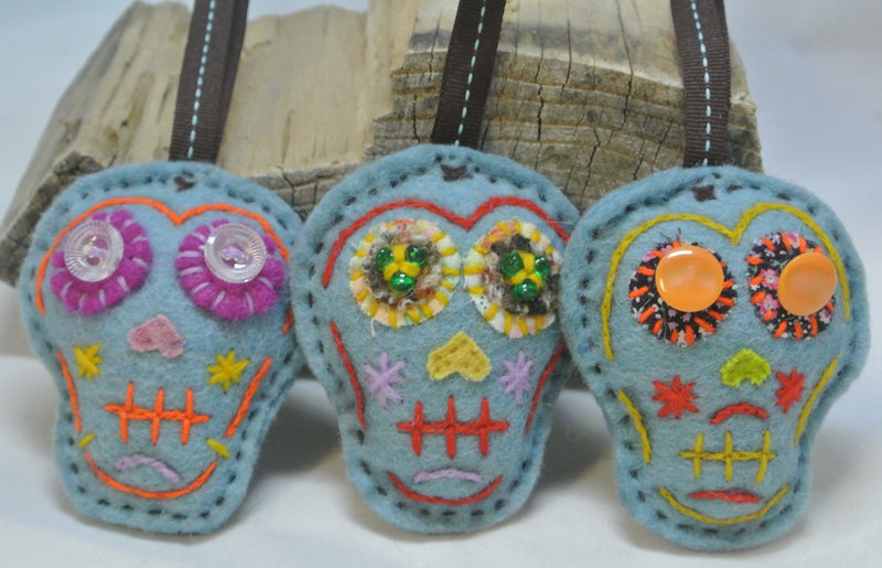 Sugar Skull Felt Ornament - Light Blue