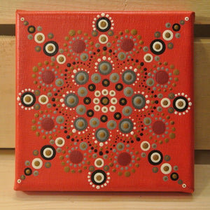 Hand Painted Red Mandala On Canvas - Small