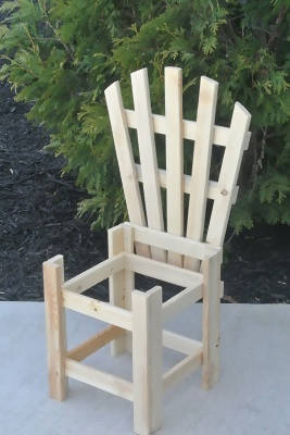 Unfinished Wood Adirondack Planter Chair Stand