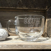 Etched Glass Cappuccino Mug Coffee and Curse Words Momlife