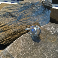Labradorite Natural Gemstone Hand Twisted Sterling Silver Ring Size 7
