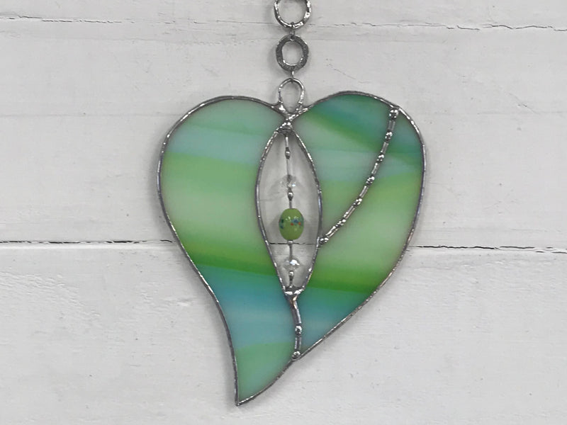 Stained Glass Green Heart Suncatcher with Beaded Centre