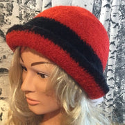 Hand Felted Wool Fedora Style Hat - Red & Black