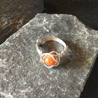 Crab Fire Agate Natural Gemstone Sterling Silver Ring Size 6