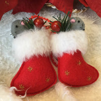 Felt Christmas Stocking Mice Tree Ornaments