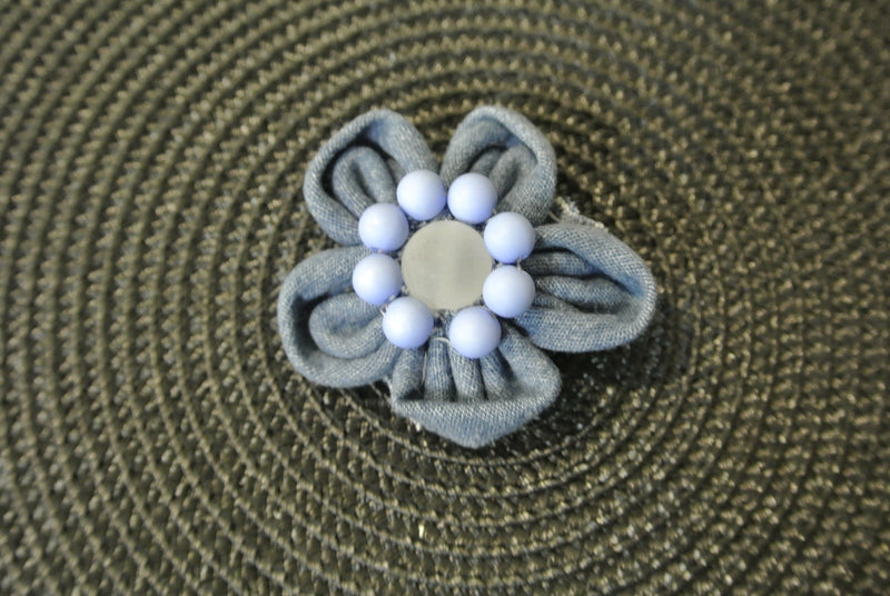 Denim Flower Hair Clip with Blue Beads