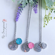 Druzy Geode Necklace with live your dream charm