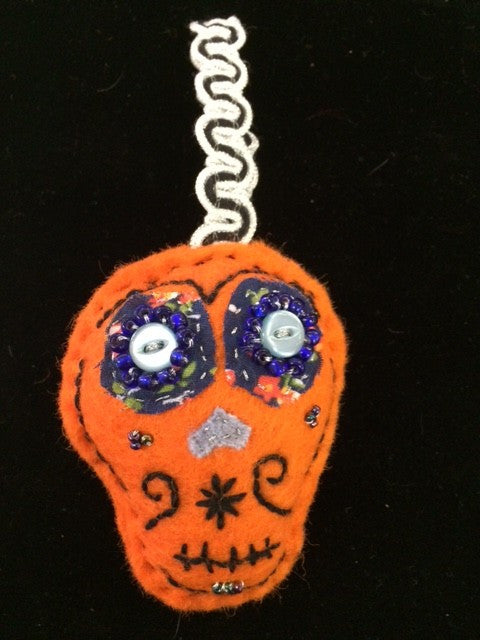 Sugar Skull Ornament - Orange