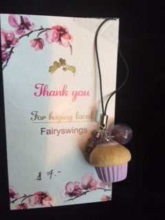 Purple Cupcake Cell Phone Charm