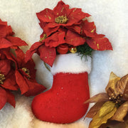Stuffed Christmas Stocking Wall Ornament - Poinsettia