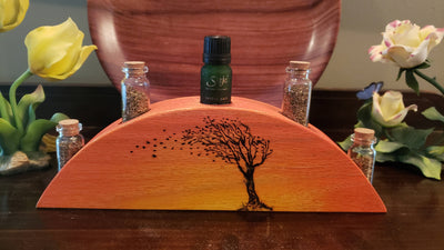 Handcrafted Oak Wood Essential Oil Holder with Hand Burnt Tree
