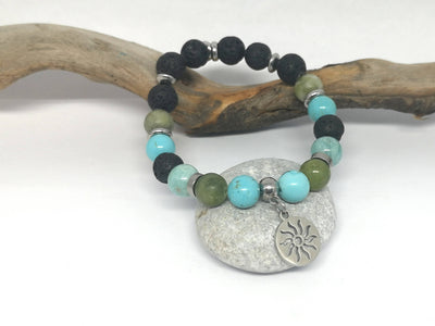 Jade and Turquoise Gemstone Essential Oil Bracelet with Sun Charm