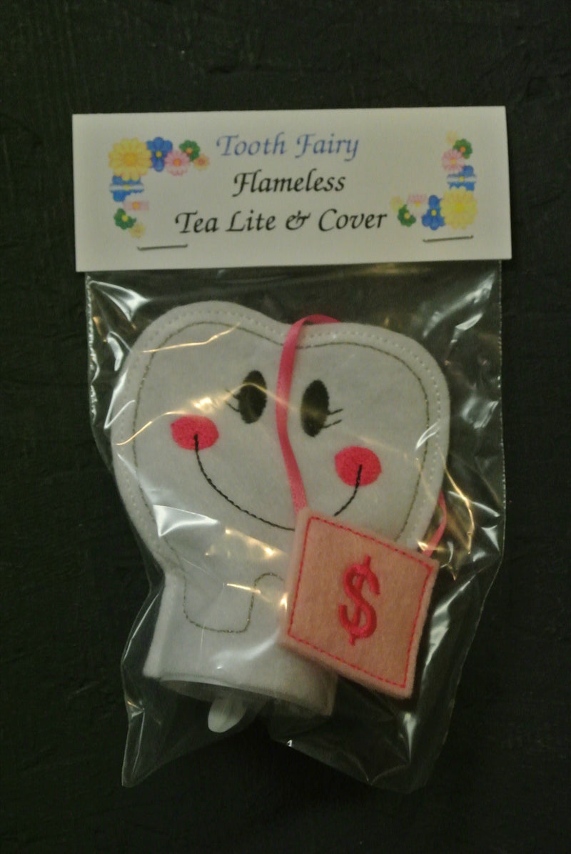 Tea Light & Cover - Tooth Fairy w Pink Pouch