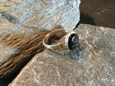 Onyx Natural Gemstone Hand Wrapped Sterling Silver Ring Size 10