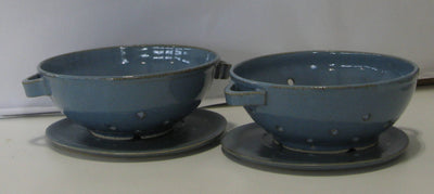 Denim Blue Pottery Fruit Collander
