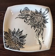 Square Black & White Themed Plates