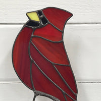 Stained Glass Bird on Driftwood - Cardinal