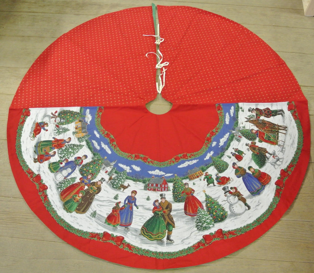 Christmas Tree Skirt Red Village Theme