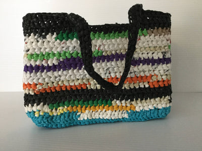 Crocheted Recycled Plastic Tote Bag Multi-colored