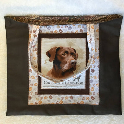 Lined Fabric Tote Bags - Pet Themed Appliques- XL