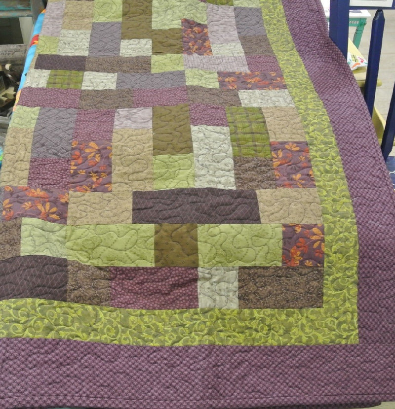 Hop Scotch Quilted Blanket - Purples and Greens