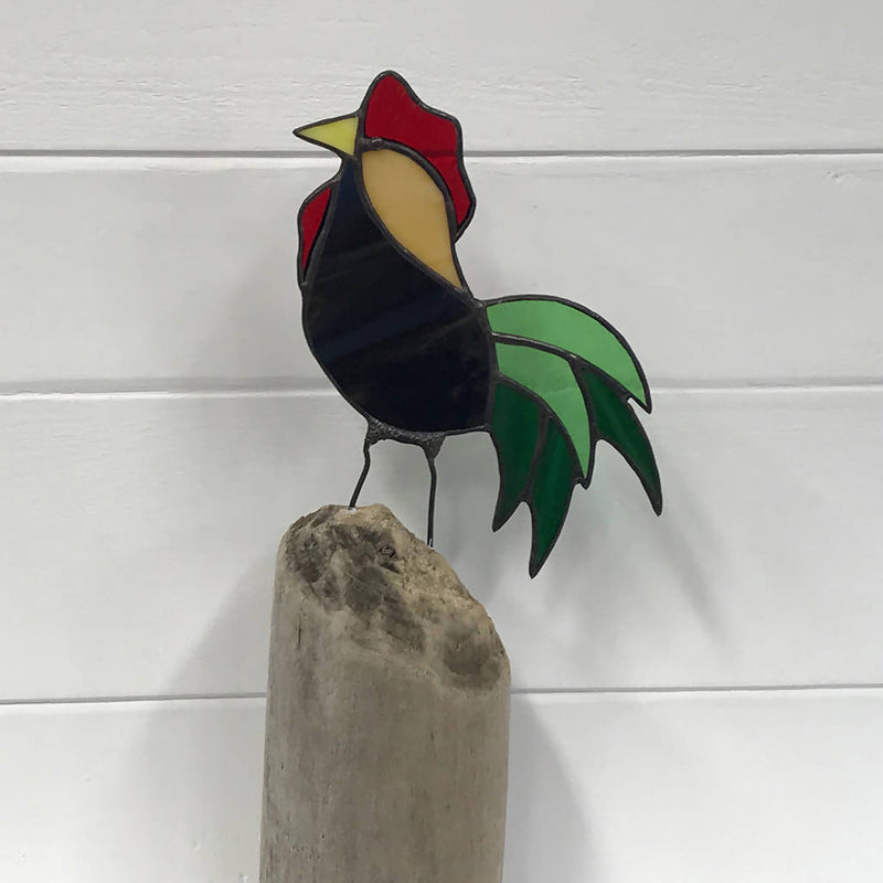 Stained Glass Bird on Driftwood - Rooster
