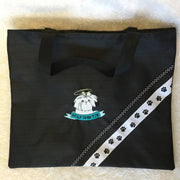Embroidered Lined Fabric Tote Bags - Dog Themes - Med