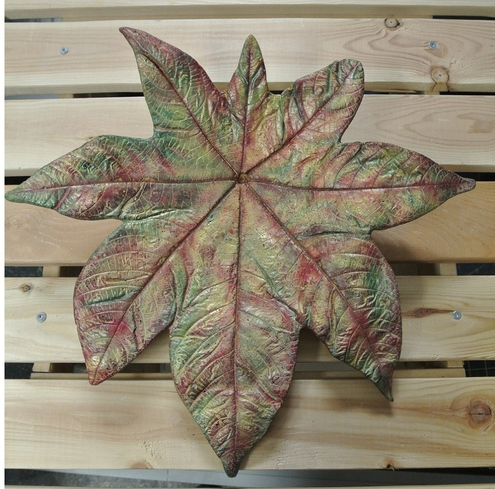 Castor Bean Leaf Concrete Wall Hanging