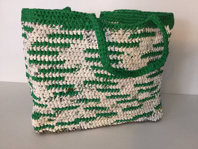 Crocheted Recycled Plastic Tote Bag Green & White Large