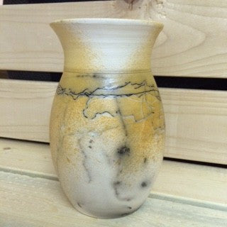 Decorative Horse Hair Raku Vase - large opening