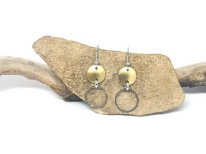 Disc & Ring Metal Earrings - Gold & Silver Tone
