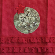 Waffle Tea Towels Red Puppy Themed Appliques
