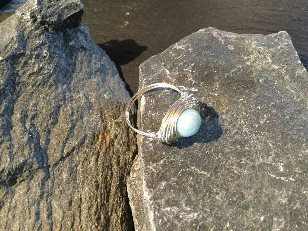 Amazonite Natural Gemstone Hand Twisted Sterling Silver Ring Size 7