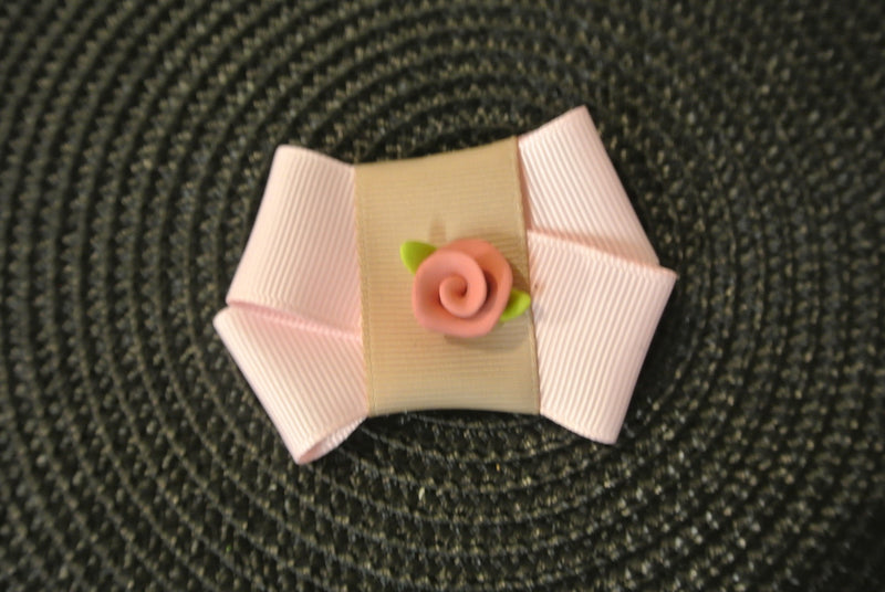 Hair Clip Bow with Rose - Pink & Gold